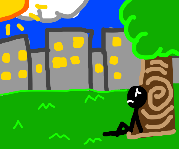 Shadow man sits lonely under a tree in city.