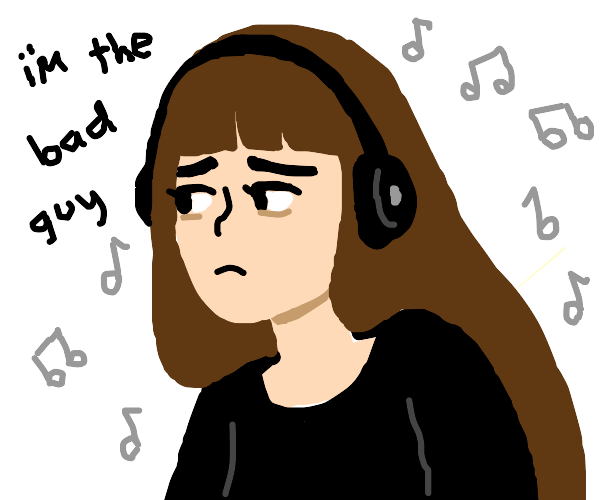 Sad 14 yr old girl listening to Billie Eilish