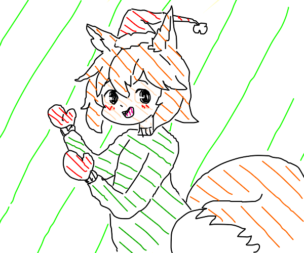 Kitsune girl,w/mittens, gets clothes for Xmas