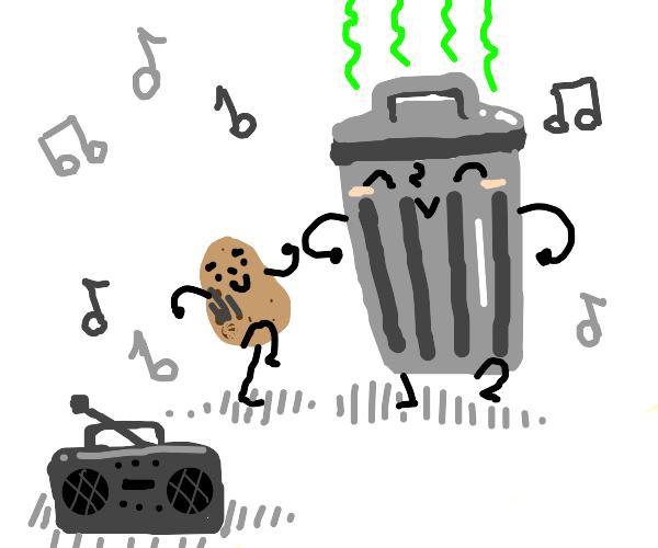 Potato and trash can dancing together