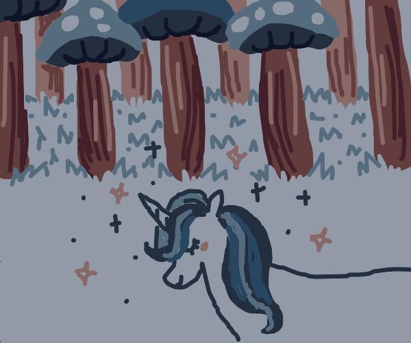 Majestic Unicorn in the Mushroom Forest
