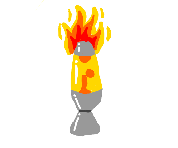 An orange lava lamp on fire