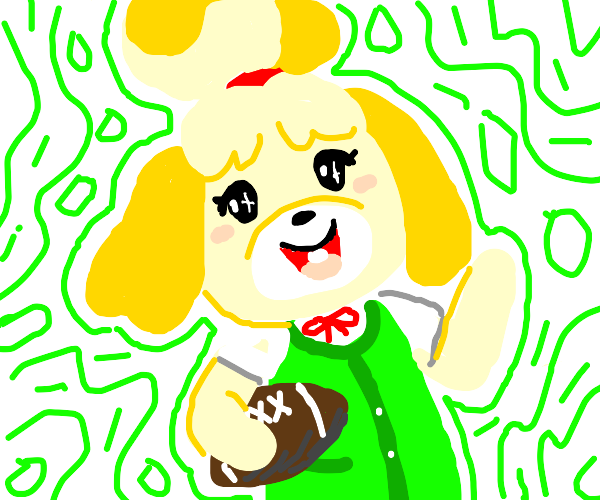 Isabelle (Animal crossing) holding a football