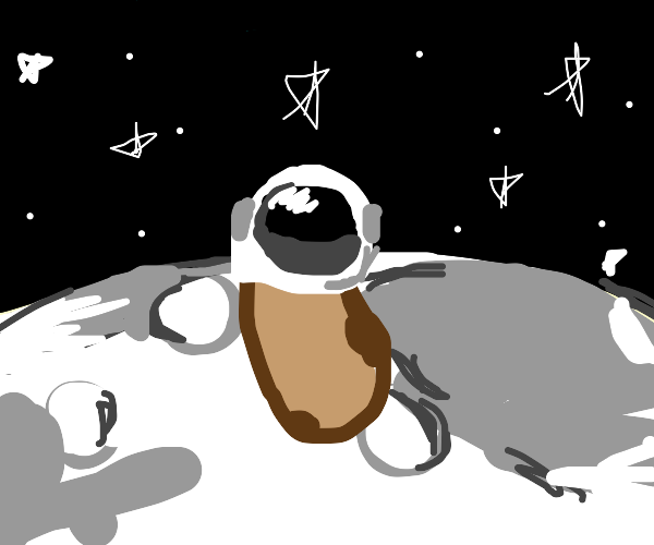 Potato Astronaut wears a leaf hat