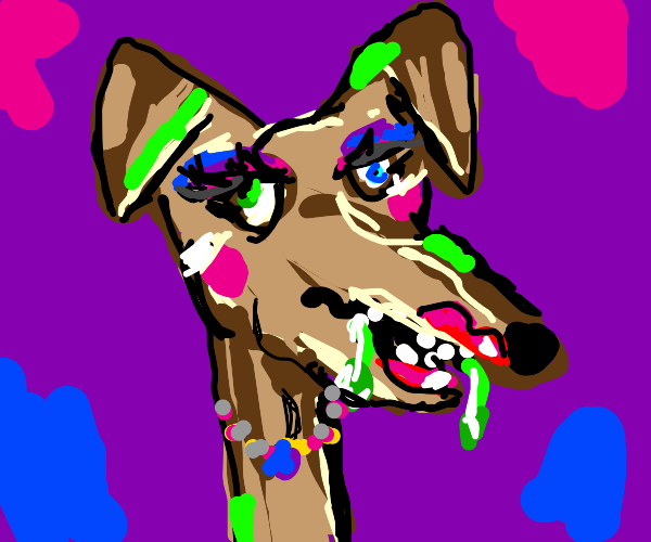 Ugly dog with makeup