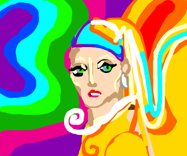 Psychedelic version Girl with a pearl earring