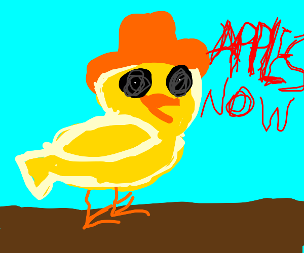 yellow birb with orange hat wants apples