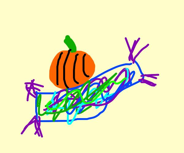 Halloween pumkin on aladin carpet