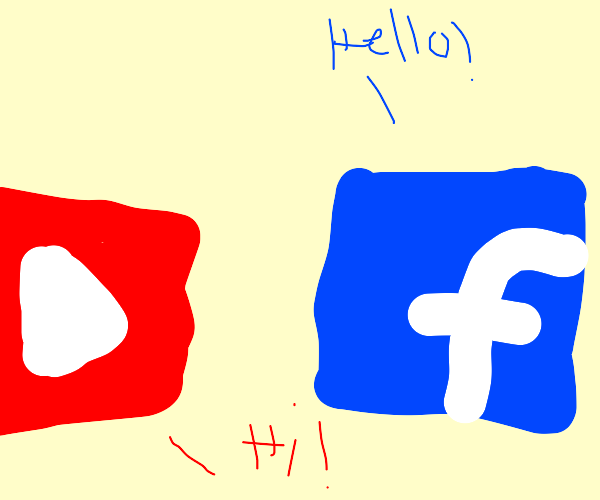 two social medias greeting each other