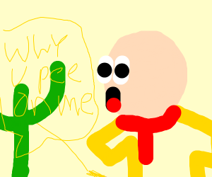 Caillou pees on cactus