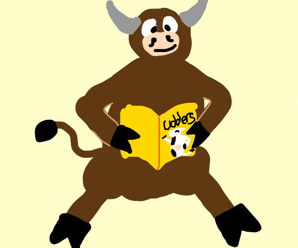 Bull reading (udders) magazine.
