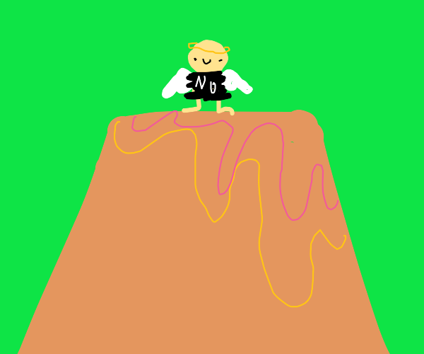 Naked angel on a volcano