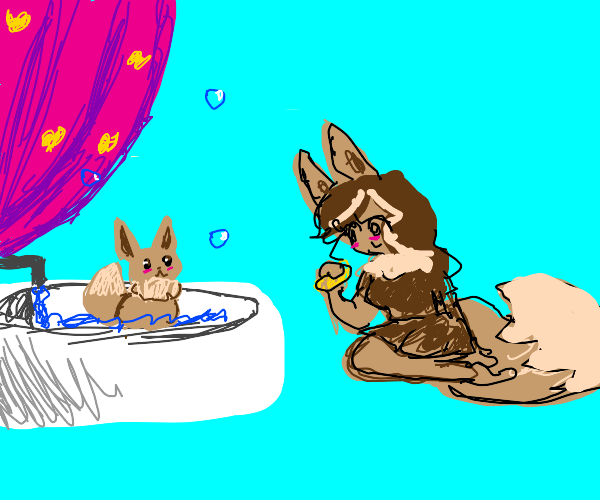 human-eevee and eevee-eevee having a bath