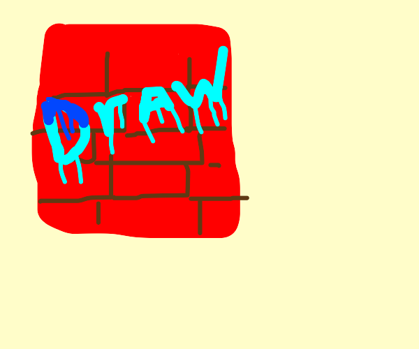 """""""Draw"""" spray painted on a brick wall"""