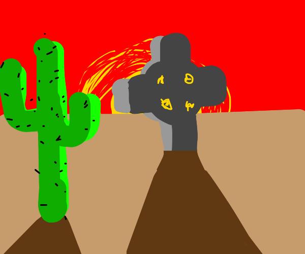 A stone cross in the desert