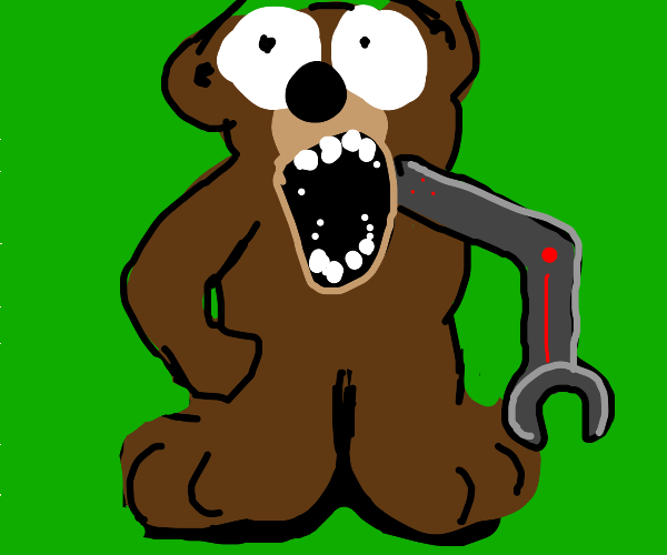Horrified bear WITH a robot arm