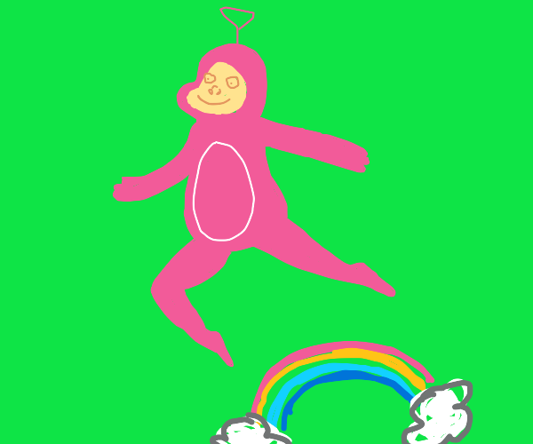 Telletubie jumping over a rainbow