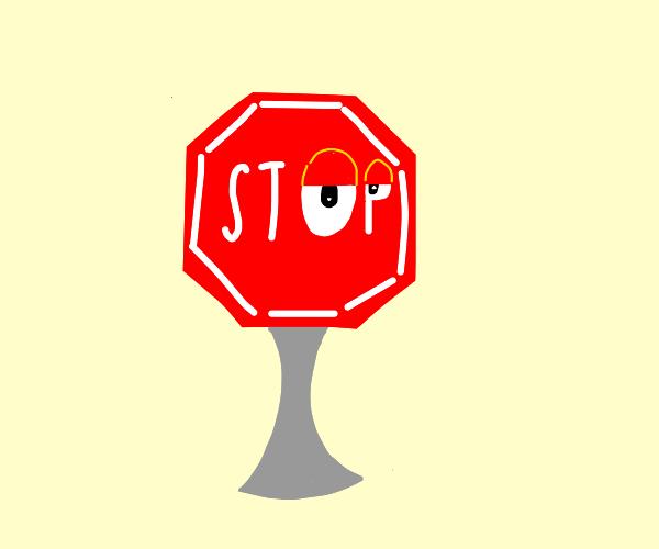 A sentient stop sign