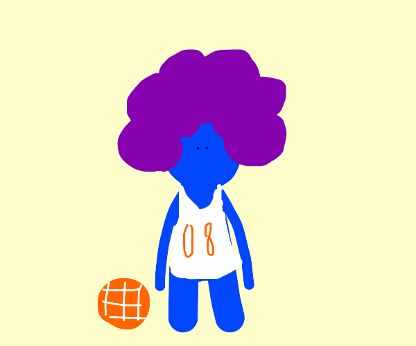 B-Ball player with huge purple hair
