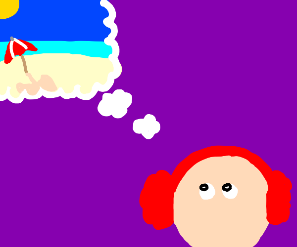 Boy w/ earmuffs dreams of the beach