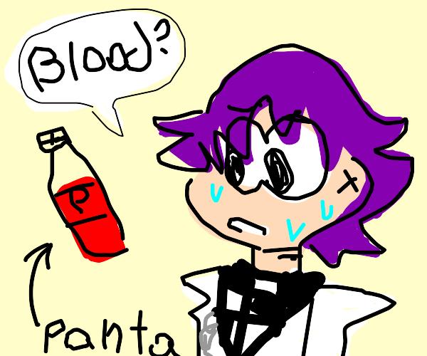 Kokichi's grape panta is actually blood