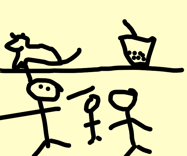 Crowd compares a mouse and a cup of boba