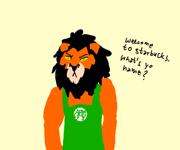 scar from the lion king working at starbucks