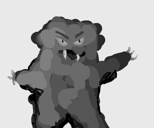 very angry and fuzzy monster