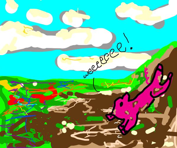 """pig sliding down mudslide saying """"weeeee!"""""""