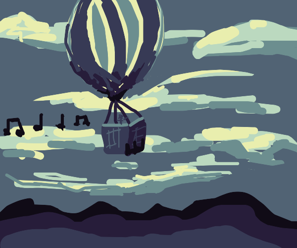 Singing on a hot air balloon