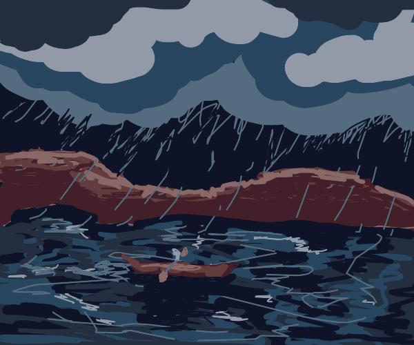 Kayaking in the rain