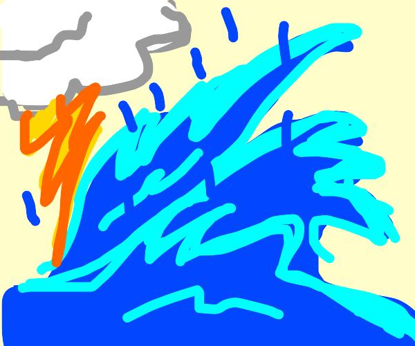 Thunderstorm causes massive tsunami