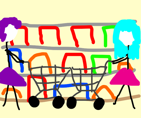 two women meet in the grocery store