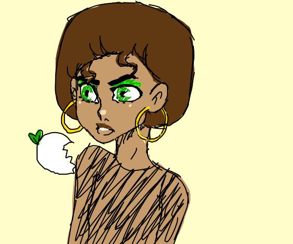 little girl with afro eating raddish