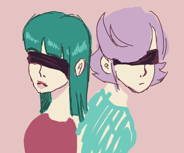 Two blindfolded women