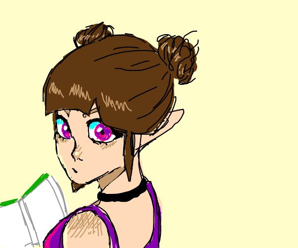 Elf doing homework
