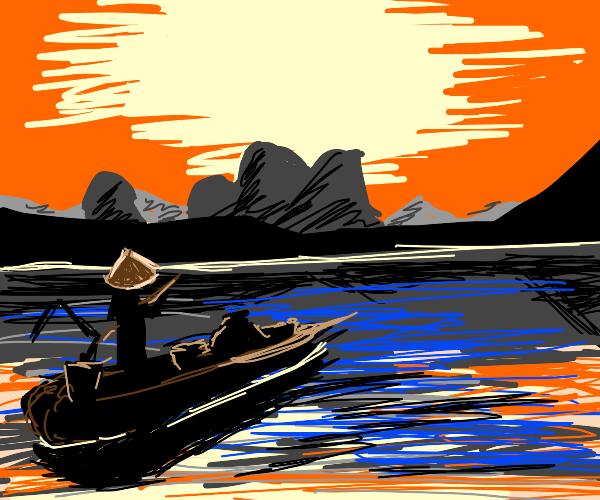 Chinese peasant fishing