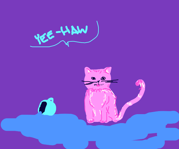 Mischievous pink cat says yee-haw