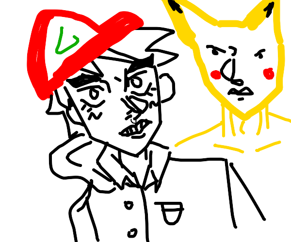 Stand master Ash ketchum w/ his stand Pikachu