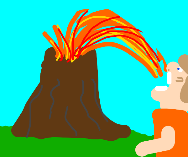 man eating lava from erupting volcano
