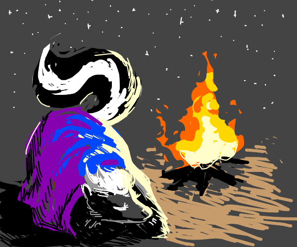 Skunk near the campfire wrapped in blanket