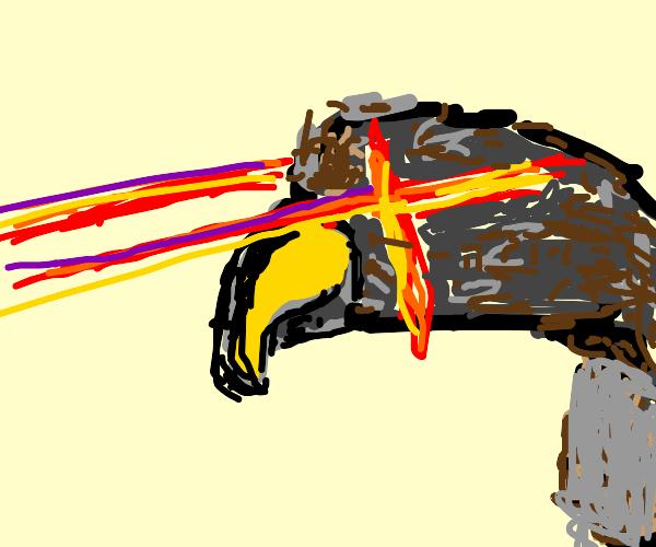 bird w/ laser eys tht work fr the bourgeoisie