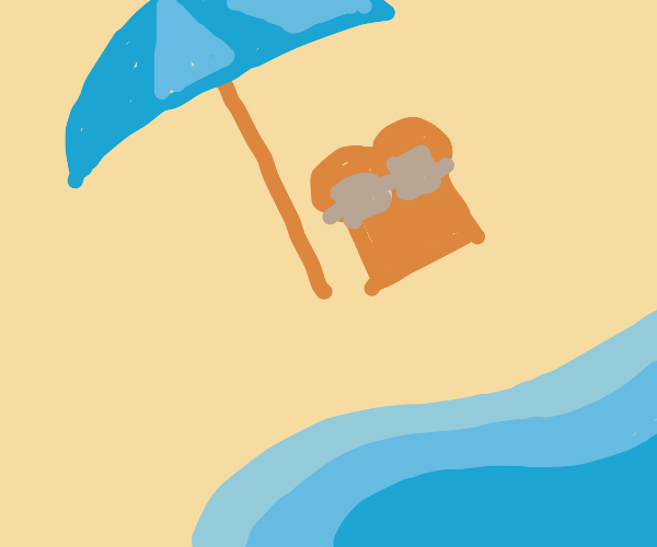 bread having a nice day at the beach