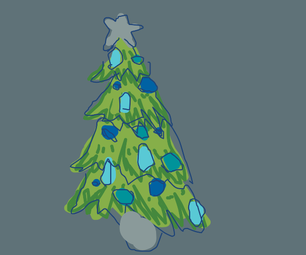 Christmas tree with only blue decorations