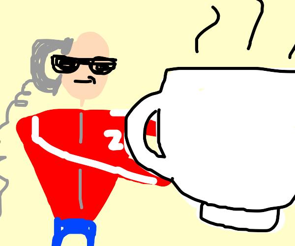 Fratboy sells giant teacup on phone