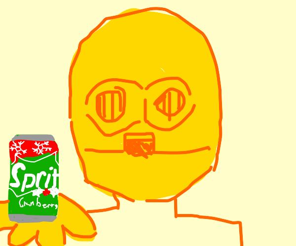 C-3PO offers you a Sprite Cranberry
