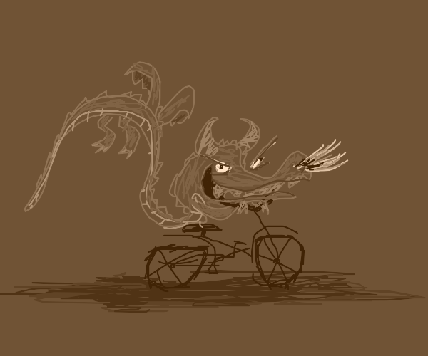 Dragon likes to ride his bicycle