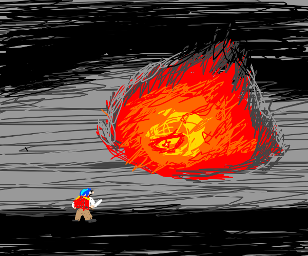 blue haired warrior fighting giant fire demon