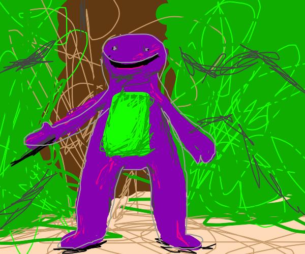 Cursed Barney wants to hug you