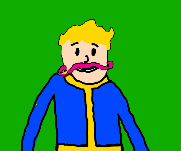vault boy with a pink mustache